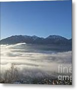 Alpine Village Under Sea Of Fog Metal Print