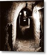 A Tunnel In The Catacombs Of Paris France Metal Print