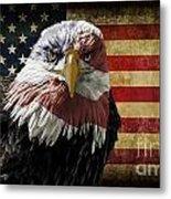American Bald Eagle On Grunge Flag Metal Print
