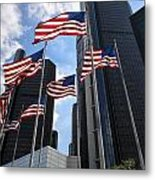 American Flags In Front Of The Detroit Renaissance Center Metal Print