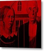 American Gothic In Red Metal Print