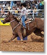 American Rodeo Female Barrel Racer White Blaze Chestnut Horse II Metal Print by Sally Rockefeller