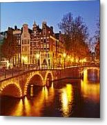 Amsterdam - Old Houses At The Keizersgracht In The Evening Metal Print
