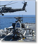 An Army Ah-64d Apache Helicopter Takes Metal Print
