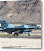 An F-16c Aggressor Jet Landing Metal Print