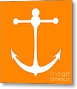 Anchor In Orange And White Metal Print