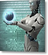 Android Holding Globe Metal Print
