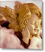 Angel Resting On Clouds And Enjoying The Sun Metal Print