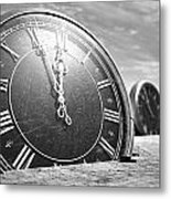 Antique Clocks In The Desert Sand Metal Print