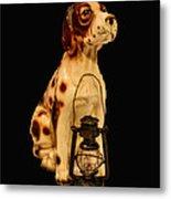 Antique Dog W Lantern Metal Print