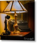 Antique Lamp Typewriter And Phone Metal Print
