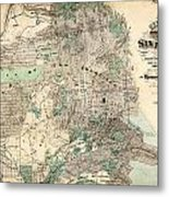 Antique Map Of City And County Of San Francisco Metal Print