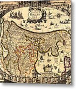 Antique Map Of Holland 1630 Metal Print