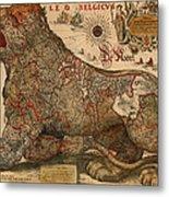 Antique Map Of Leo Belgicus 1630 Metal Print