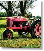 Antique Tractor  Metal Print by Julie Dant