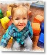 Ashby And Her Blocks Metal Print