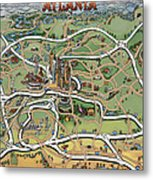 Atlanta Cartoon Map Metal Print