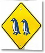 Attention Blue Penguin Crossing Road Sign Metal Print