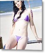 Attractive Girl On The Beach Metal Print