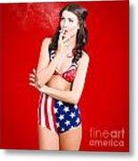 Attractive Usa Pinup Woman Smoking Metal Print