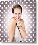 Attractive Young Retro Girl With Look Of Surprise Metal Print