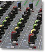 Audio Mixing Board Console Metal Print