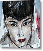 Audrey Hepburn - Abstract Art Metal Print