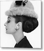 Audrey Hepburn Wearing A Givenchy Hat Metal Print