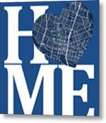 Austin Street Map Home Heart - Austin Texas Road Map In A Heart Metal Print