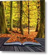 Autumn Fall Forest Landscape Magic Book Pages Metal Print