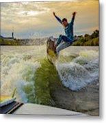 Autumn Wake Surfing Metal Print