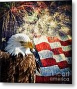 Bald Eagle And Fireworks Metal Print by Michael Shake