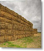 Bales Of Hay On Farmland 4 Metal Print