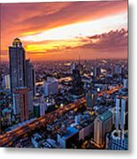 Bangkok City Skyline Sunset Metal Print