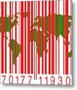 Bar Code With The World Map Metal Print