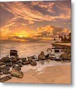 Barbers Point Light House Sunset Metal Print