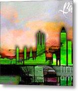 Barcelona Spain Skyline Watercolor Metal Print