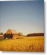 Barn And Corn Field Metal Print