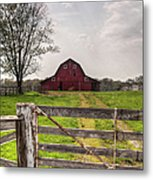 Barn By A Fence Metal Print