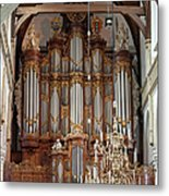 Baroque Grand Organ In Oude Kerk In Amsterdam Metal Print