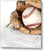 Baseball And Mitt Metal Print