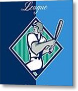 Baseball Hitter Batting Diamond Retro Metal Print