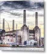 Battersea Power Station London Snow Metal Print