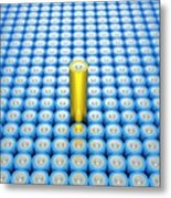 Battery Array And Single Supercapacitor. Metal Print