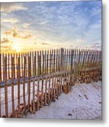Beach Fences Metal Print