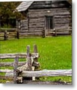Beautiful Autumn Scene Showing Rustic Old Log Cabin Surrounded B Metal Print