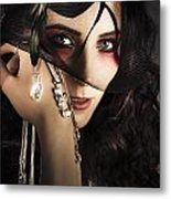 Beautiful Female Fashion Model In Luxury Jewellery Metal Print