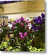 Beautiful Flowers Inside The Changi Airport In Singapore Metal Print