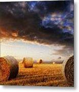 Beautiful Hay Bales Sunset Landscape Digital Painting Metal Print by Matthew Gibson