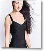 Beautiful Model With Long Straight Brunette Hair Metal Print